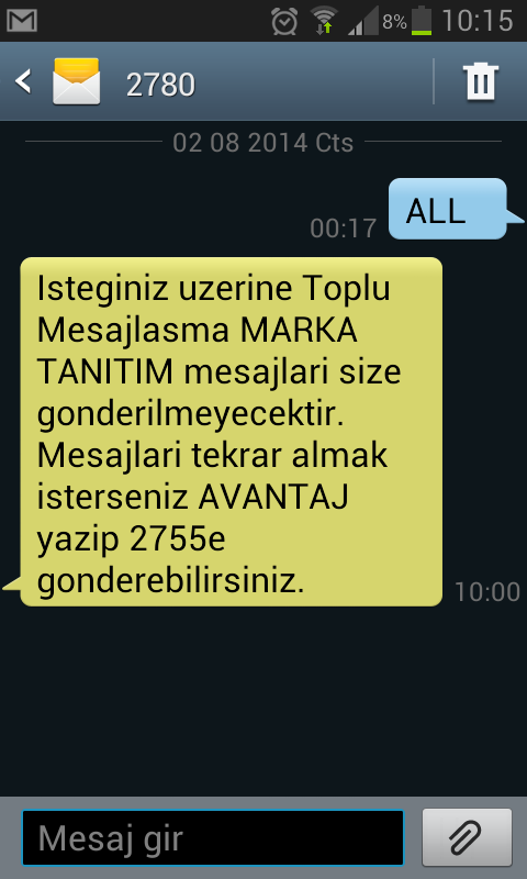 turkcell sms engelleme